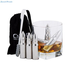 Stainless Steel Bullet Shape Whiskey Stones Ice Cubes 6 PCS  Soapstone Glacier | Cool your Drink, Don't Water it Down !!