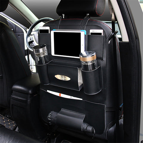 Stylish Multi-Pocket Travel Storage Car Seat Back Organiser High Quality PU Leather