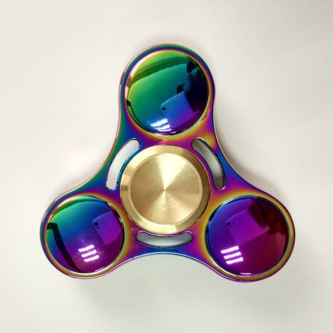 Titanium Colourful Creative Metal Tri-Spinner Fidget Rotation for Stress Relief