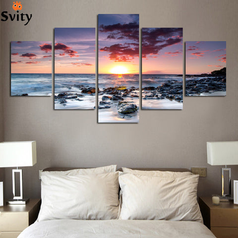 Soothing Sunrise on Sea Landscape - Printed Oil Painting | 5 Piece Frameless Wall Art Set