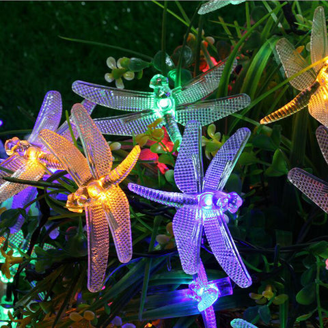 Solar Outdoor Waterproof LED String Light 5 Meter 20 LED's | Set of 20 Dragonfly (Design)