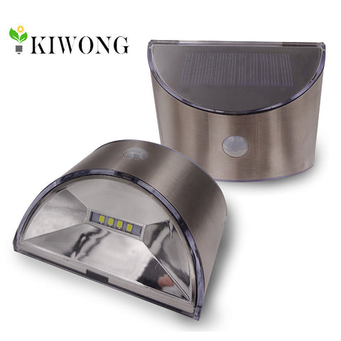 Motion Sensor Waterproof Outdoor LED Solar Light Stainless Steel Shell Lighting | Garden - Home - Office - Shop Use | Set of Two