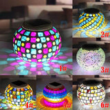 Solar Powered Mosaic Glass Ball Garden Waterproof Indoor Outdoor Colourful Changing Lights