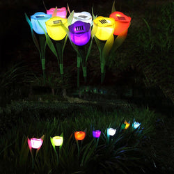Tulip Flower LED Garden Path Light | Set of 7 Pcs. | Solar Powered Landscape Lights