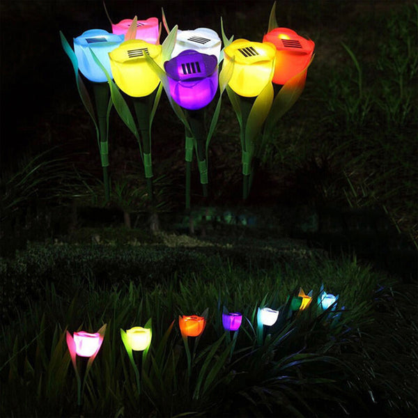 Attractive Tulip Flower LED Garden Path Light | Set of 7 Pcs. | Outdoor Solar Powered Landscape Lights