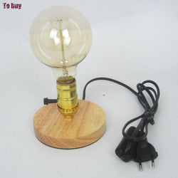 Vintage Edison Wooden Base Socket Desk Light Wooden desk lamp | Industrial Table Reading Lamp & Night Light