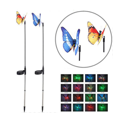 Solar Power garden Landscape lights Set of 2pcs | Simulation Butterfly Colour Changing Festival lights for Garden - Lawn - Path way