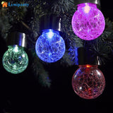 Globe shaped Waterproof Solar Powered Glass Lights With Hanger | RGB LED Garden Night Lights