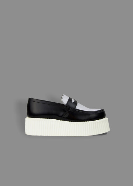 aaa92caa3f7eb Underground Creeper Loafer - Black   White Leather - White Double Sole