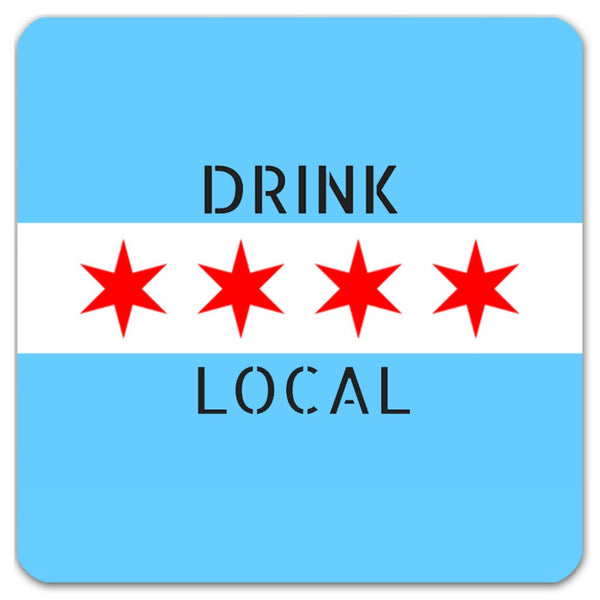 Chicago Flag Drink Local Reusable Coasters, Set of 4