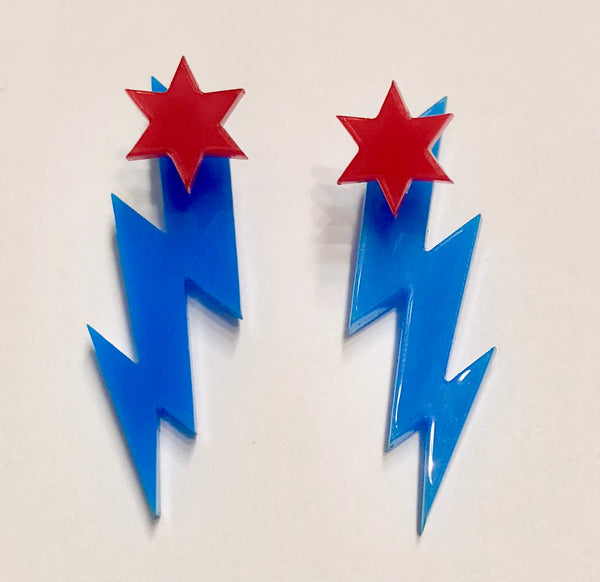 Zig Zag Pow! Chicago Proud Earring Set
