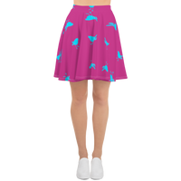 Pink and Turquoise Birdie Flare Skirt