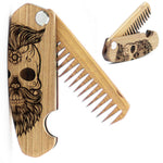 Folding Wooden Beard Comb, Walnut Engraved