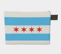 Chicago Flag Denim-Lined Zipper Pouch