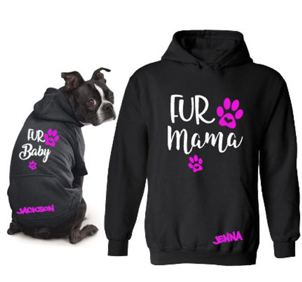 Personalized Fur Mama and Fur Baby Matching Dog Mom Hoodies