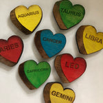 Astrological Sign Wooden Engraved Hearts