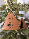 Take a Hike Leather Mountain Ornament