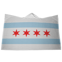 Chicago Flag Hoodie Blanket with Hand Pockets