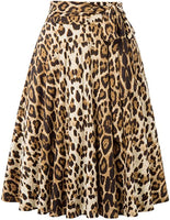 Leopard Print Skirt with Pockets