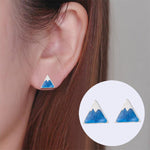 Blue Snow Capped Mountain Stud Earrings