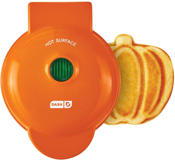 Single Serve Waffle Iron with Custom Shapes Heart, Pumpkin, Skull