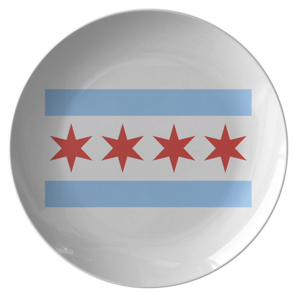 Chicago Flag Dinner Plate