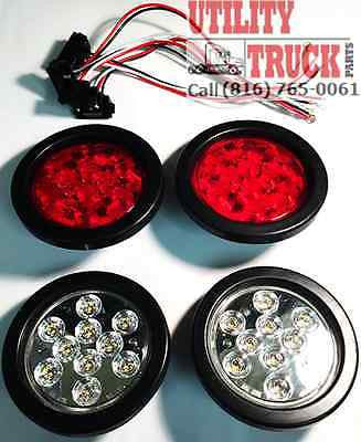 "4"" LED Stop Turn Tail Back Up Lights 10 Diode Truck Trailer RV Light - utilitytruckparts"