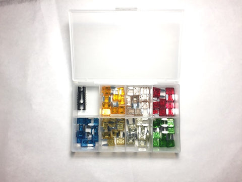 ATM Automotive mini fuse with easy ID with LED indicator contains 10 of each 5A, 7.5A 10A 15A 20A 25A 30A fuses plus a fuse holder. - utilitytruckparts