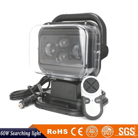 Go Light compatible 60W Wireless Remote Led Utility Truck Search Light 12V & 24V - utilitytruckparts
