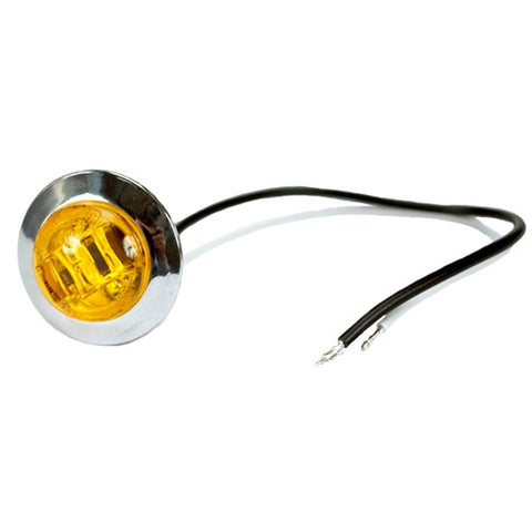 "3/4"" Inch Amber LED Round Marker Light with Chrome Bezel 534CAK - utilitytruckparts"