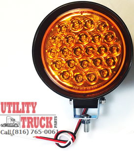 "4"" Amber Round LED Pedestal Mount Strobe #2 Light - utilitytruckparts"