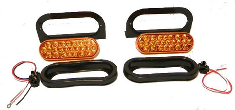 "6"" Oval Oblong LED Amber Synchronized Strobe Light Kit - utilitytruckparts"