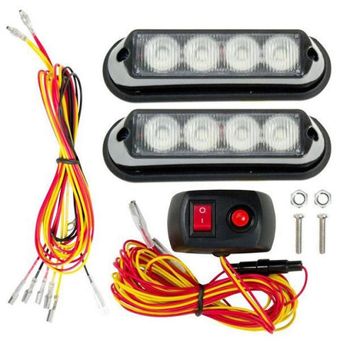 White Slim 4 LED Low Profile Rapid Strobe Kit C4845 - utilitytruckparts
