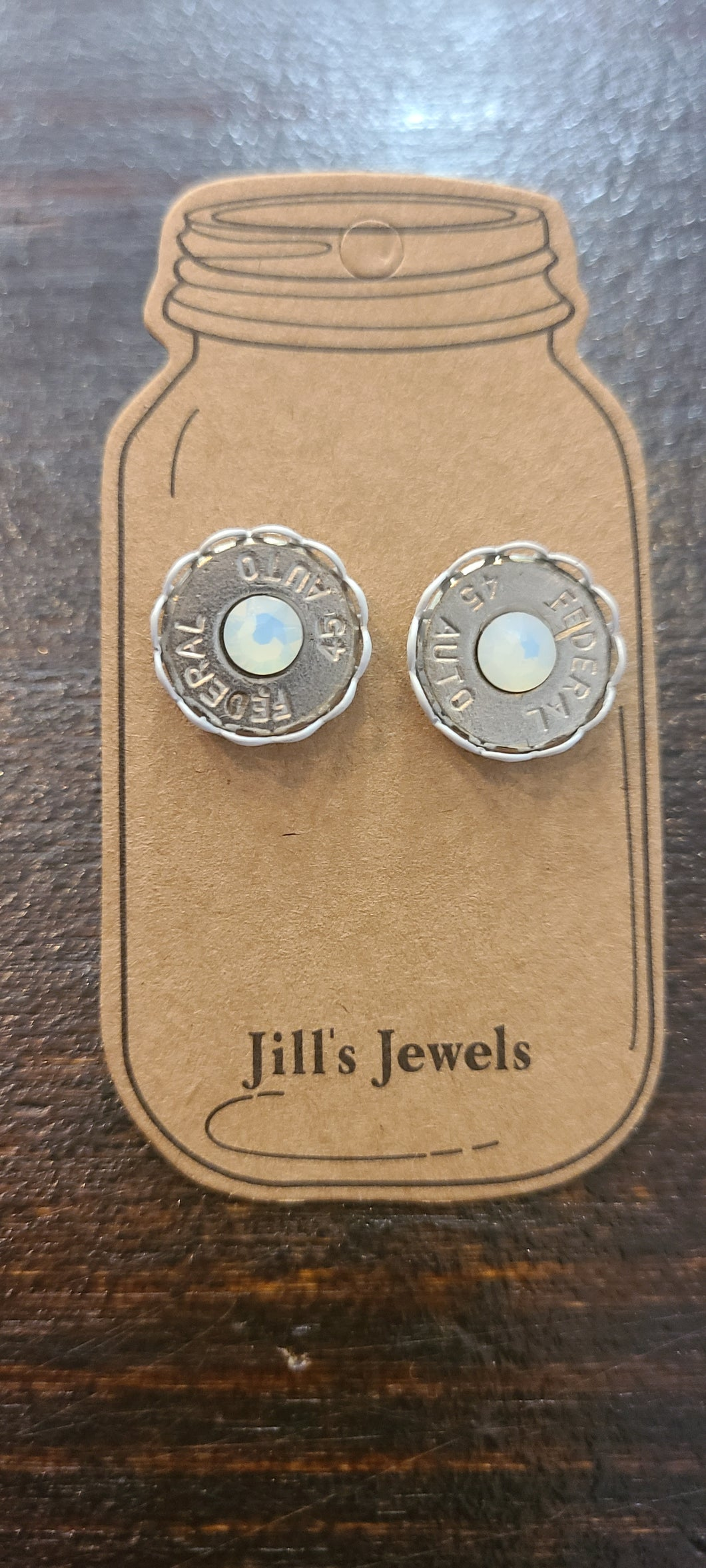 45 AUTO BULLET STUD EARRINGS