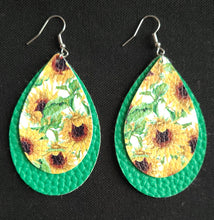 SUNFLOWER FAUX LEATHER EARRINGS