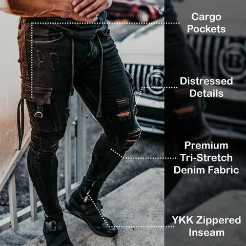 Size Up Tri-Stretch Black Cargo Denim Pants