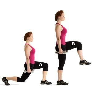 Reverse Lunges With Knee Lifts