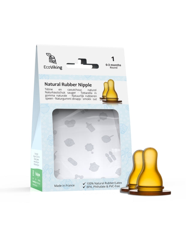 Standard Neck Natural Rubber Nipples (2-Pack) - EcoViking
