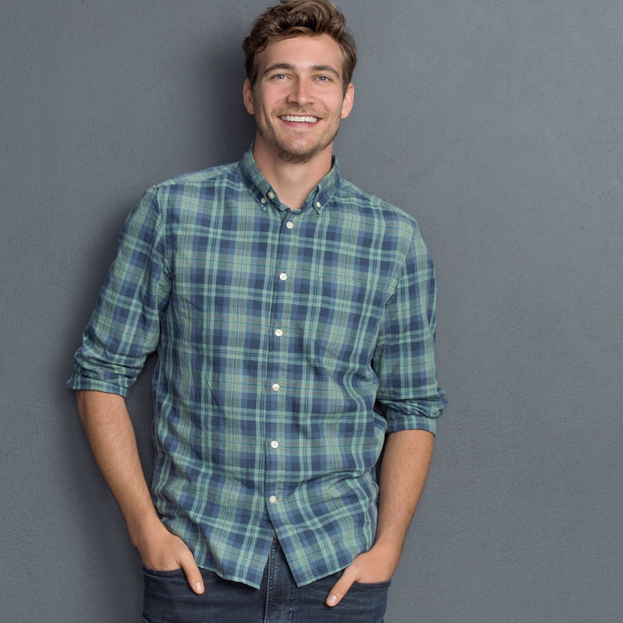 Men's Faded Plaid Button-Down