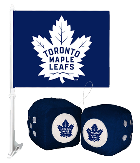 2 for 1 Toronto Maple Leafs Car Flag + Fuzzy Dice Bundle