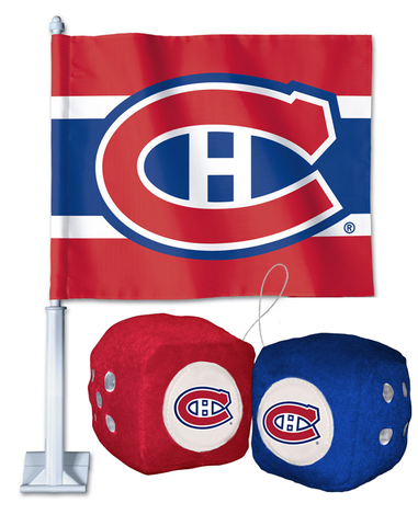 2 for 1 Montreal Canadiens Car Flag + Fuzzy Dice Bundle