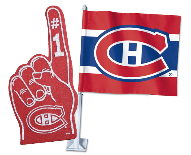 2 for 1 Montreal Canadiens Foam Finger + Car Flag Bundle