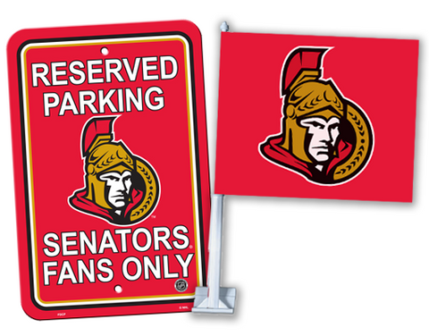 2 for 1 Ottawa Senators Reserved Parking Sign + Car Flag Bundle