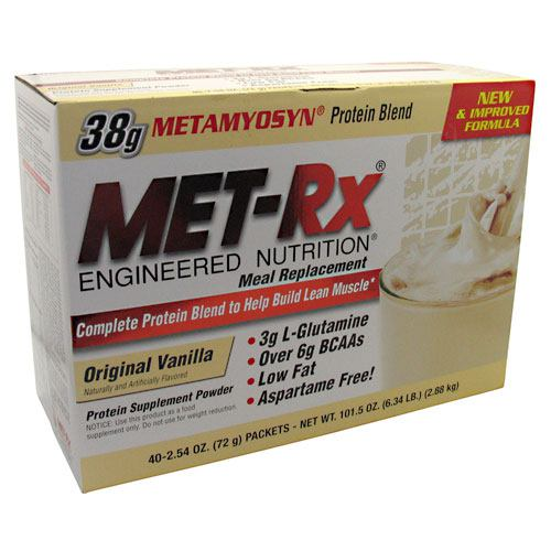 Met-Rx USA Meal Replacement Protein Powder - Original Vanilla - 40 Packets - 786560187053