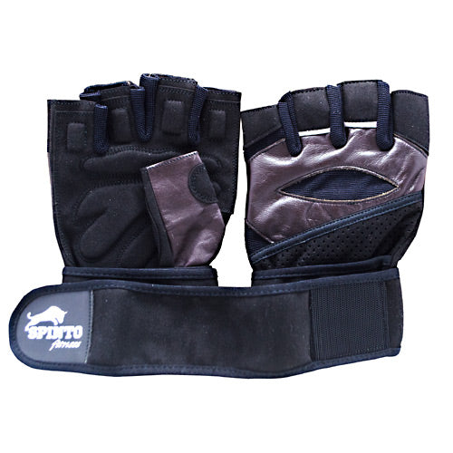 Spinto USA, LLC Mens Workout Glove w/ Wrist Wraps - Brown/Gray (LG) -   - 636655966059