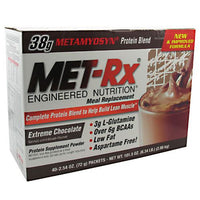 Met-Rx USA Meal Replacement Protein Powder - Extreme Chocolate - 40 Packets - 786560187060