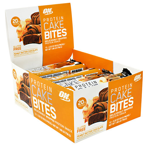 Optimum Nutrition Cake Bites - Peanut Butter Chocolate - 12 Bars - 748927959734