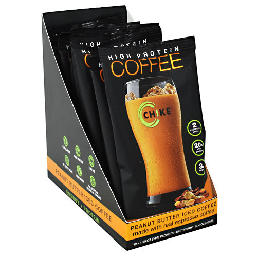 Chike Nutrition High Protein Coffee - Peanut Butter Iced Coffee - 12 Packets - 185689000494