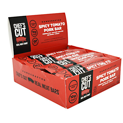 Chefs Cut Real Jerky Real Meat Bar - Spicy Tomato Pork - 12 Bars - 10854088007560