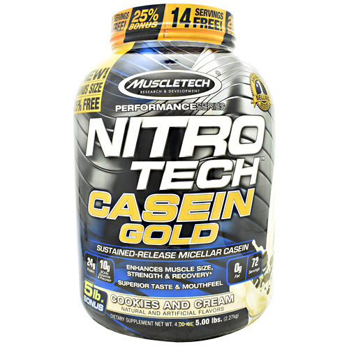 Muscletech Performance Series Nitro Tech Casein Gold - Cookies and Cream - 5 lb - 631656711806